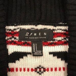 21men Sweaters - 21 Men Shawl Patterned Cardigan Sweater